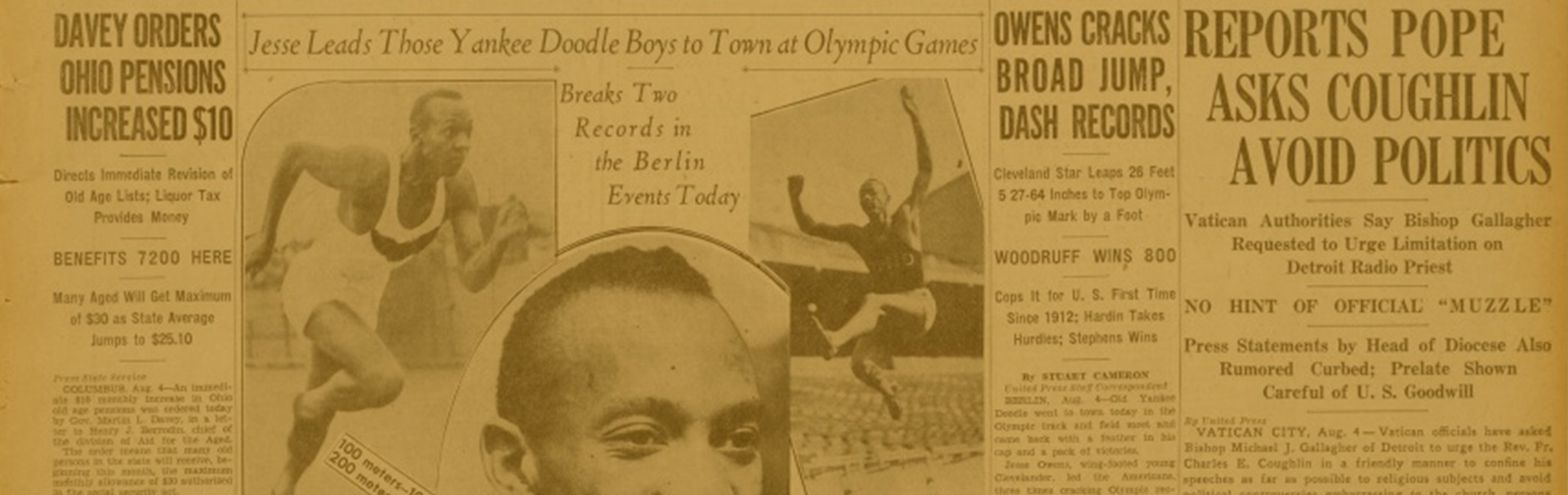 Extrait du journal The Cleveland Press avec articles du Jesse Owens